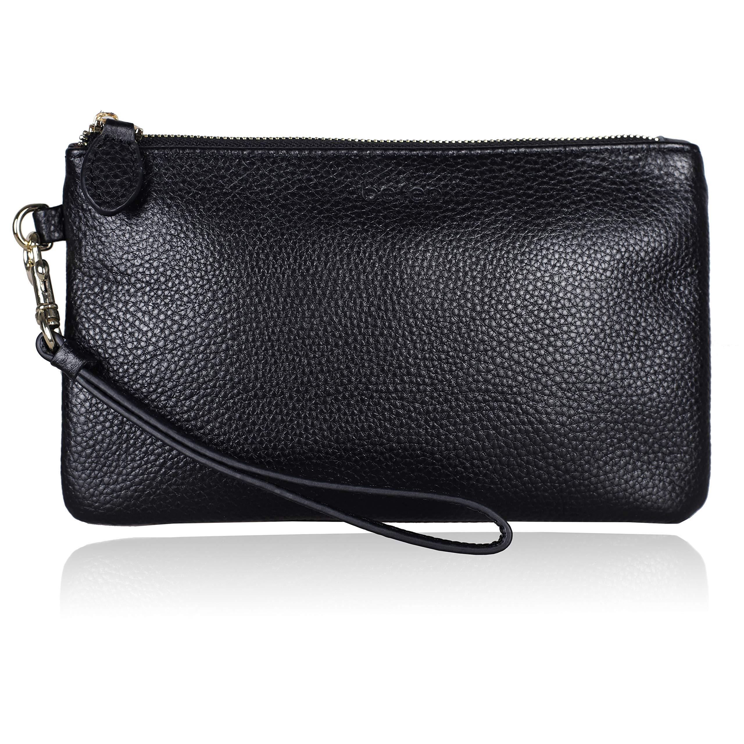 Leather Clutch Wristlets Purses FERRISA Wristlets Wallet Cell Phone Holder Small Clutch Wristlet Handbags for Women