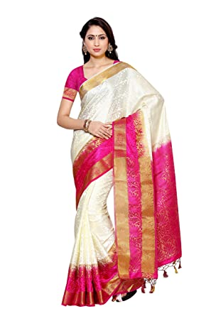 ca334f2591 MIMOSA Women's Silk Saree With Blouse Piece(2092-2D-HWT-RNI_White_Free Size