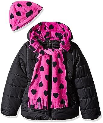 dfd318581 Amazon.com  Pink Platinum Girls  Little Puffer Jacket with Heart ...