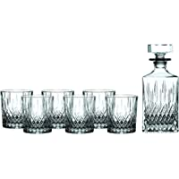 Royal Doulton Earlswood Whiskey Decanter & Tumbler (Set of 6), Clear