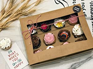 Living Kitchen Cupcake Boxes, Cupcake Carriers, and Cupcake Holders, Food Grade Kraft Bakery Boxes, Disposable Box with Clear Display Window, Removable Inserts for 12 Cupcakes or Muffins, 12 Packs