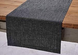 Solino Home Festive Linen Table Runner – Black Linen Runner Woven with Decorative Zari - 14 x 90 Inch