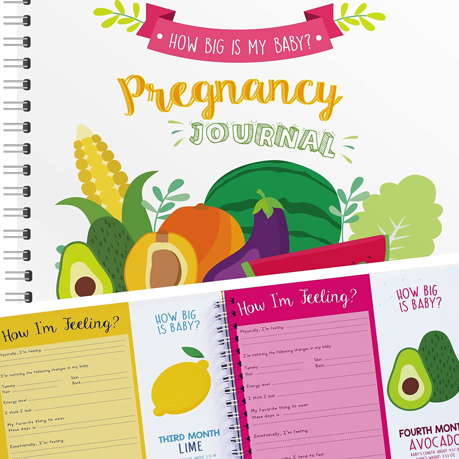 Pregnancy Journal and Baby Memory Book with Stickers, Perfect Maternity Gift for Expecting Mothers Unconditional Rosie PEAINAPODWHITE