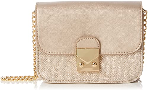 New Look - Grace Glitter Metallic Mini, Bolsas de tela y playa Mujer, Gold