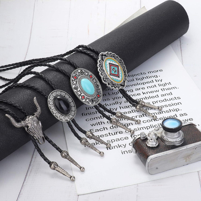 Milacolato 4Pcs Western Cowboy Vintage Bolo Tie Men Handmade Leather Round Shape Black Vintage Turquoise Pendant Bolo Ties Necktie for Women,Men