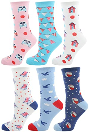 25fab284a Zest 6 Pack Ladies Cotton Rich Assorted Design Socks 6 Pack Beach ...