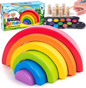 JOYOUT Children's Rainbow Stacking Blocks Set: Toddlers' 6 Wooden Rainbow Stacker Nesting Puzzle Pieces Plus 6 DIY Dolls, 12 Paints, Brush, Palette