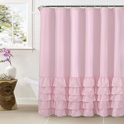 Amazon.com: WestWeir Smocking Ruffle Shower Curtain with Hooks for ...