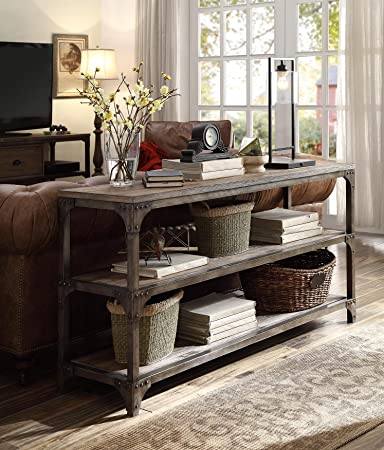 ACME Furniture Acme 72685 Gorden 60u0026quot; Server, Weathered Oak Antique  Silver