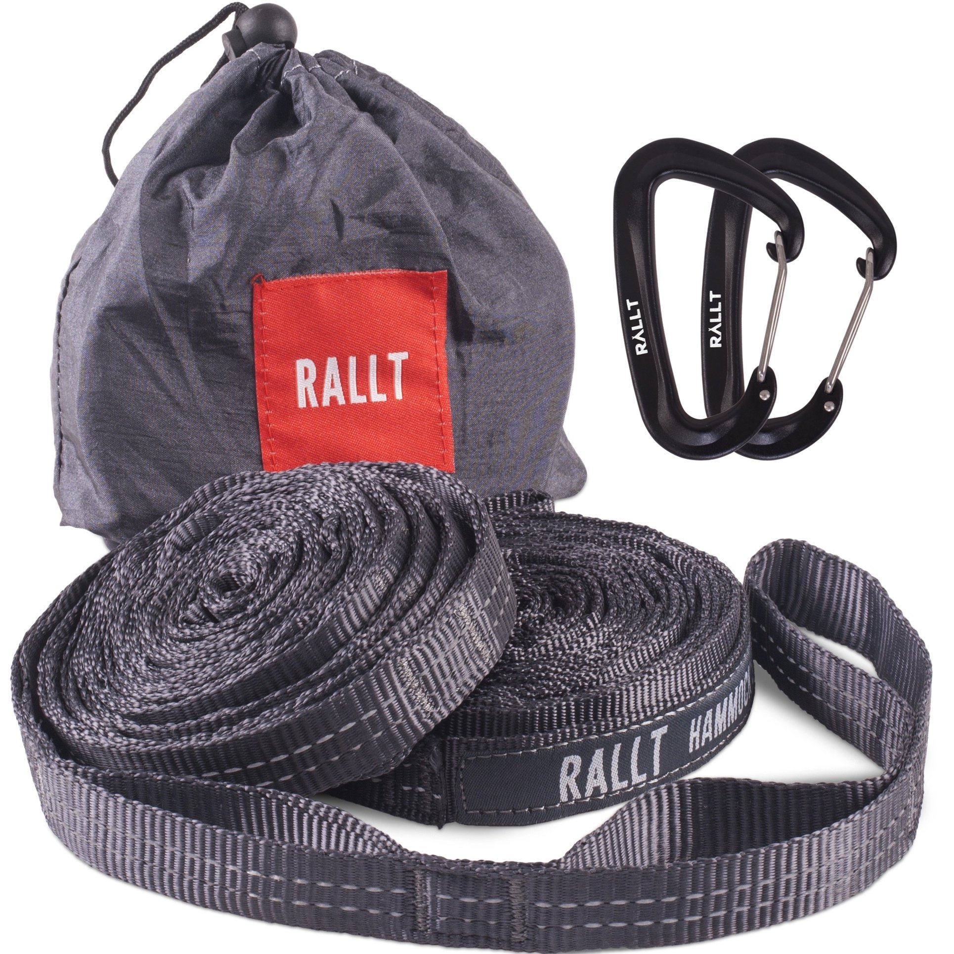 Rallt Hammock Tree Straps - 2000+ LB Breaking Strength, 20 Feet Long, 36 Loops. 100% No Stretch Polyester Adjustable Suspension Straps Like Python and ENO Atlas Straps (With Carabiners)