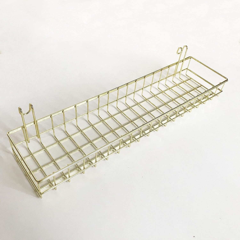ANZOME Gold Mesh Wall Metal Wire Basket, Grid Panel Hanging Tray, Wall Mount Organizer, Wire Storage Shelf Rack for Home Supplies, Wall Decor Size 15.7 x 3.9 x 1.9/40 x 10 x 5cm Koopon