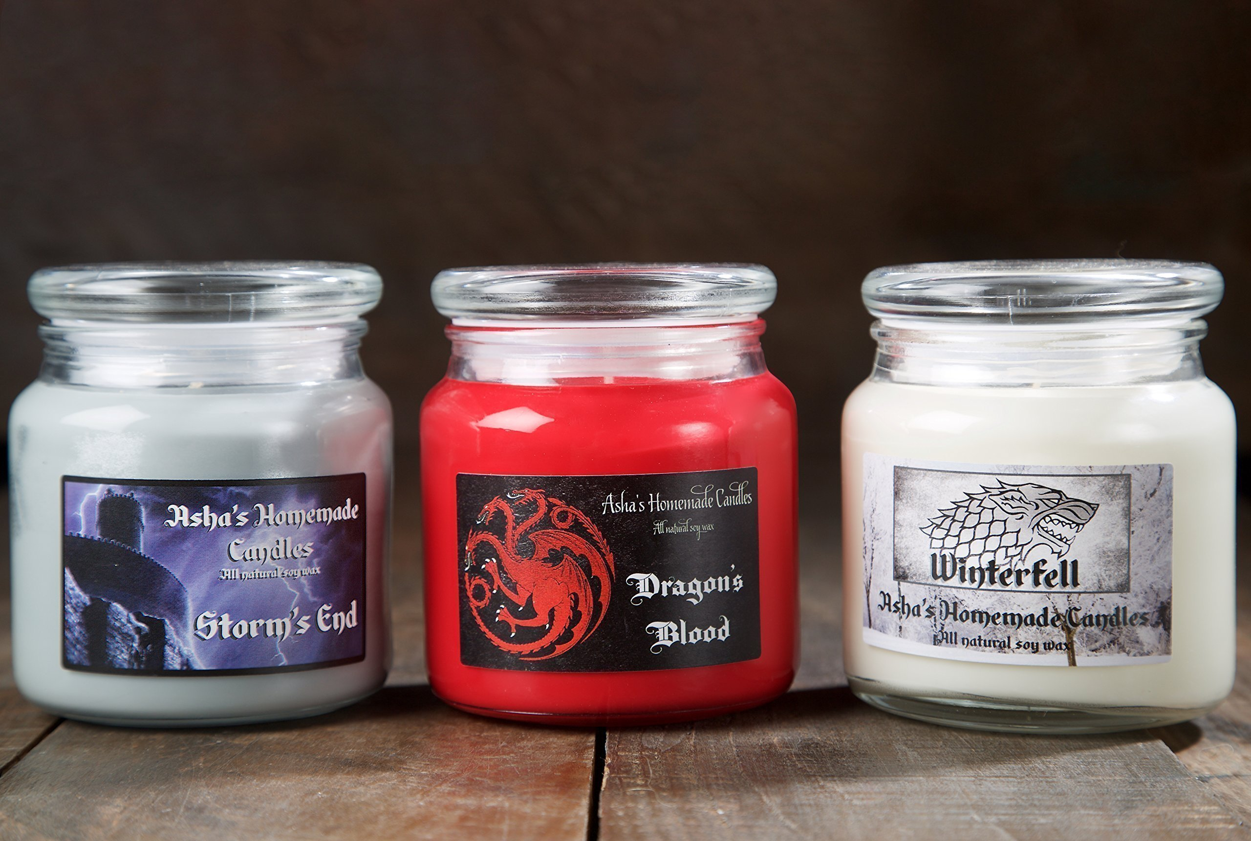 Game of Thrones Soy Candles - Set of 3 - Winterfell - Storm's End - Dragon's Blood