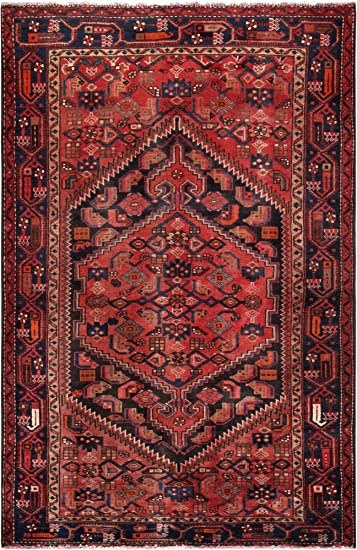 Amazon Com Pasargad Vintage Hamadan Collection Hand Knotted Wool Area Rug 4 3 X 6 8 Furniture Decor