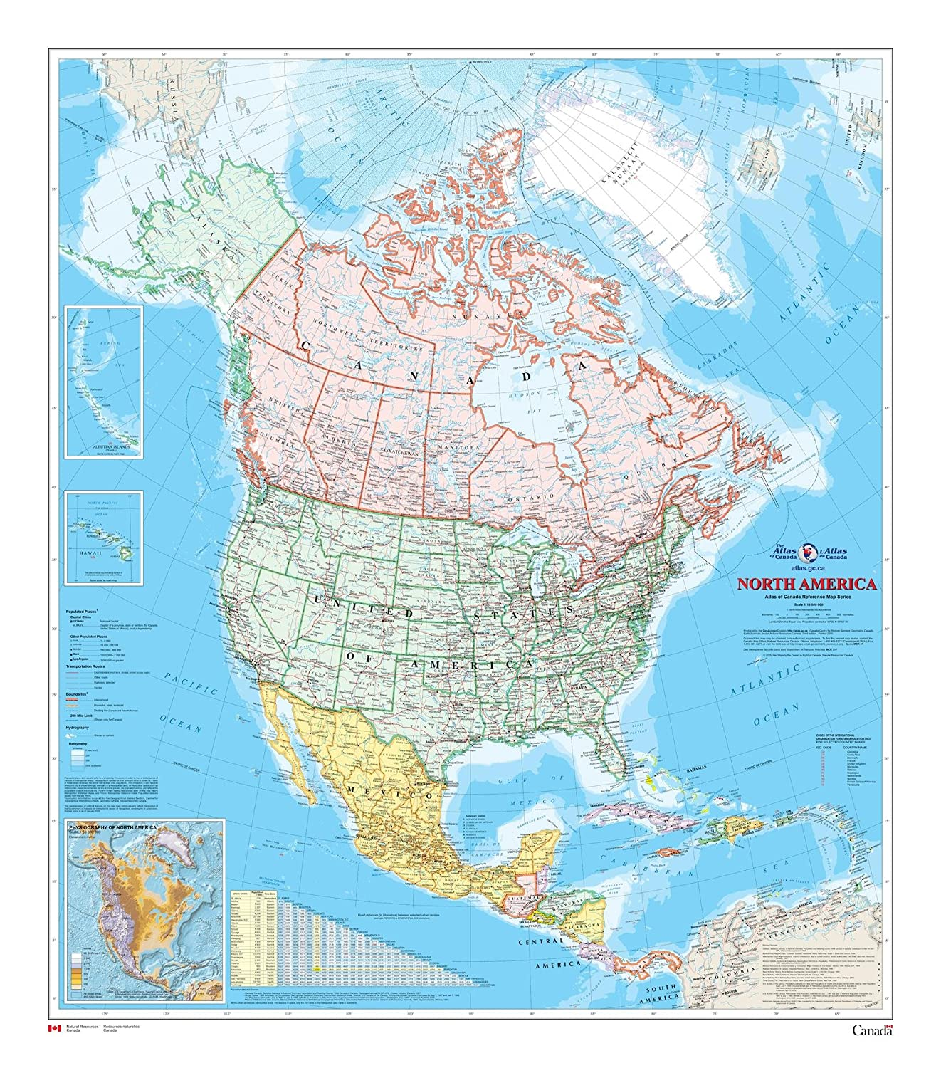 North America Wall Map - Atlas of Canada - 34 x 39 Laminated MapSherpa