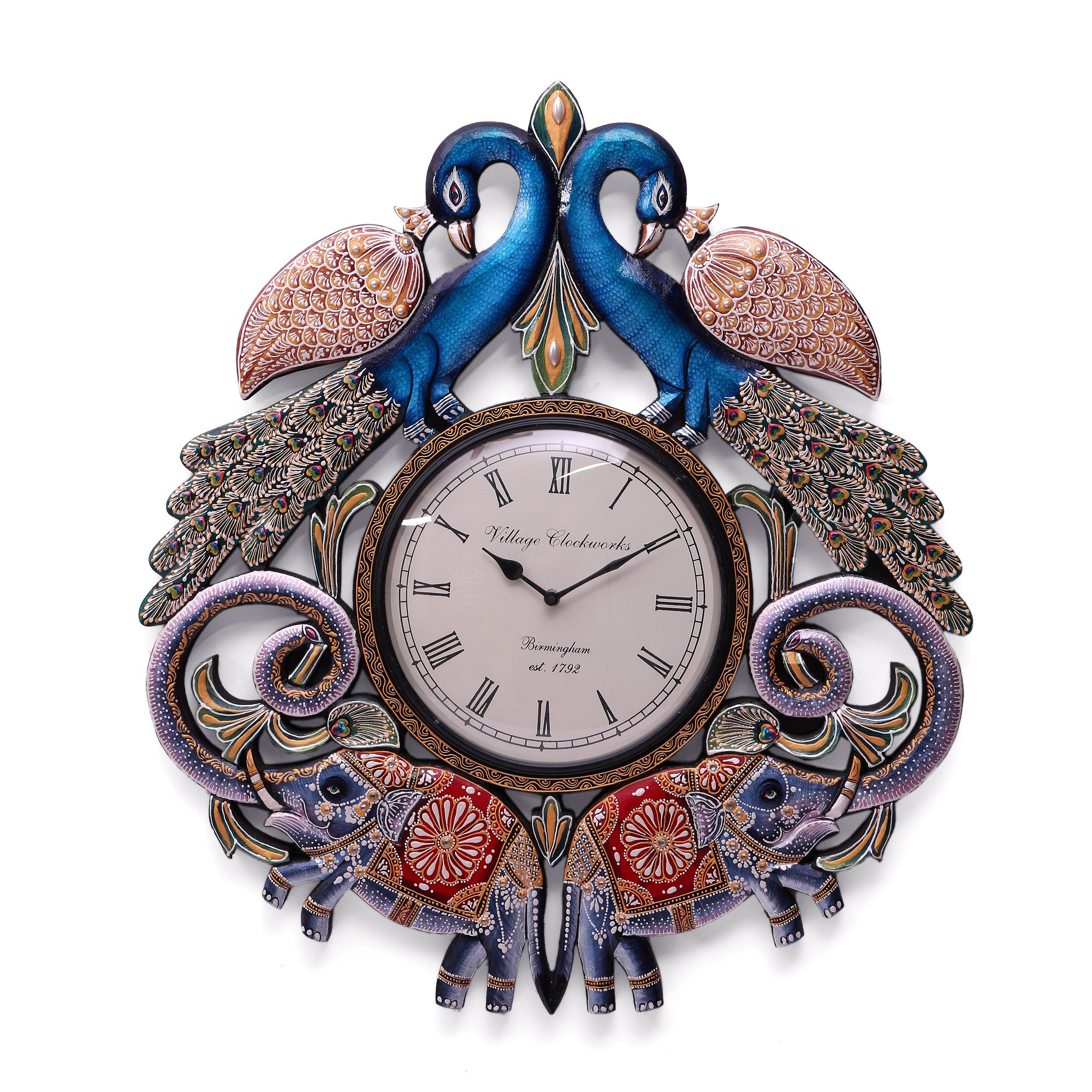 CraftVatika Handmade Wall Clock - 2.1 FT Large Peacock Elephant Hand Carved Painted Wooden Clock Wall Sculpture by CraftVatika (Image #2)
