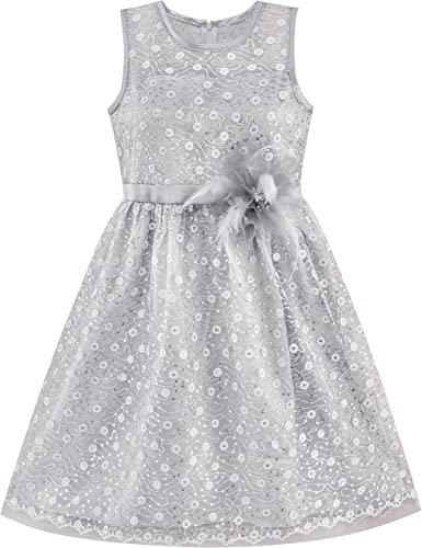 Girls Dress Black White Flower Elegant Princess Summer Clothes Age 6-14 Years