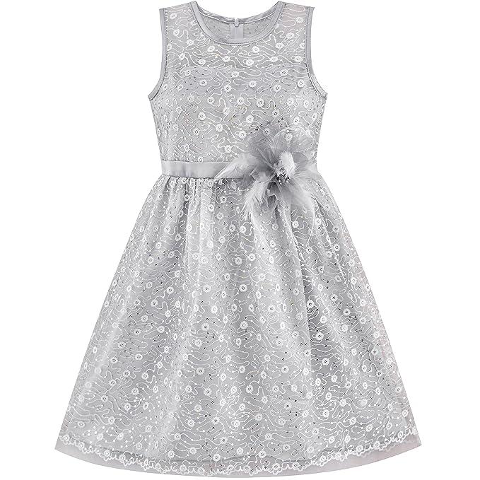 Sunny Fashion Vestido para niña Flor Encaje Lentejuela Llamarada Rosa Boda Fiesta 5-12 años: Amazon.es: Ropa y accesorios