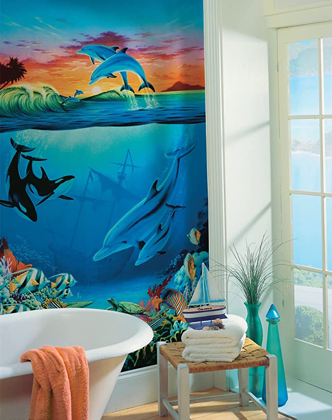 Brewster Round the World 259-72005 Pre-pasted Wall Mural Under the Sea 108-Inch Height x 72-Inch Width