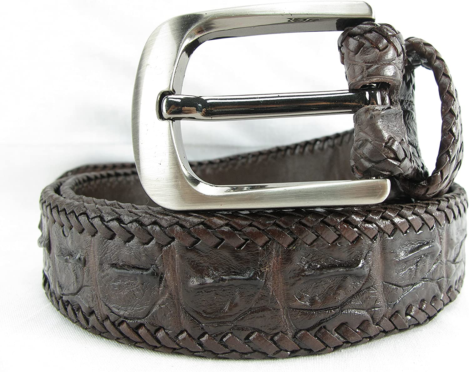 PELGIO Genuine Crocodile Alligator Backbone Skin Leather Handmade Belt 46 Long