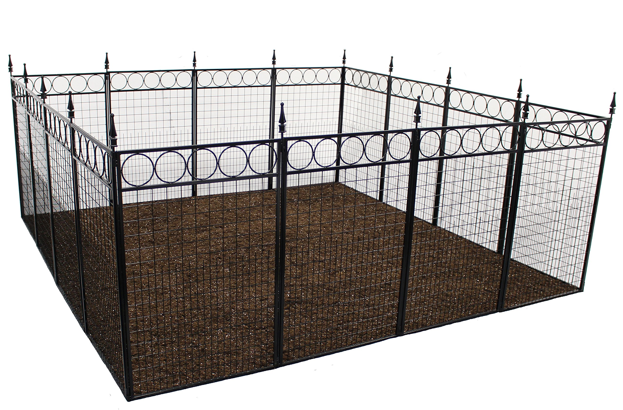 Terra Garden Fence, Westchester (GF-1), Protect & Beautify, 32 Feet of Fencing Included, 36 inch Tall Animal Barrier (Black)