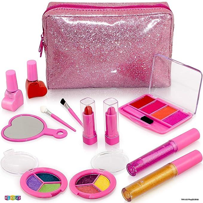 Kids Makeup Kit For Girl - 13 Piece Washable Kids Makeup Set – My First Princess Make Up Kit Includes Blush, Lip Gloss, Eyeshadows, Lipsticks, Brushes, Mirror Cosmetic Bag Best Gift For Girls Original