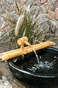 "Bamboo Accents Low-Profile Deck Water Fountain, Indoor/Outdoor Bamboo Fountain with Pump, 18"" Wide Classic Nozzle, Split Resistant, DIY Zen Fountain"