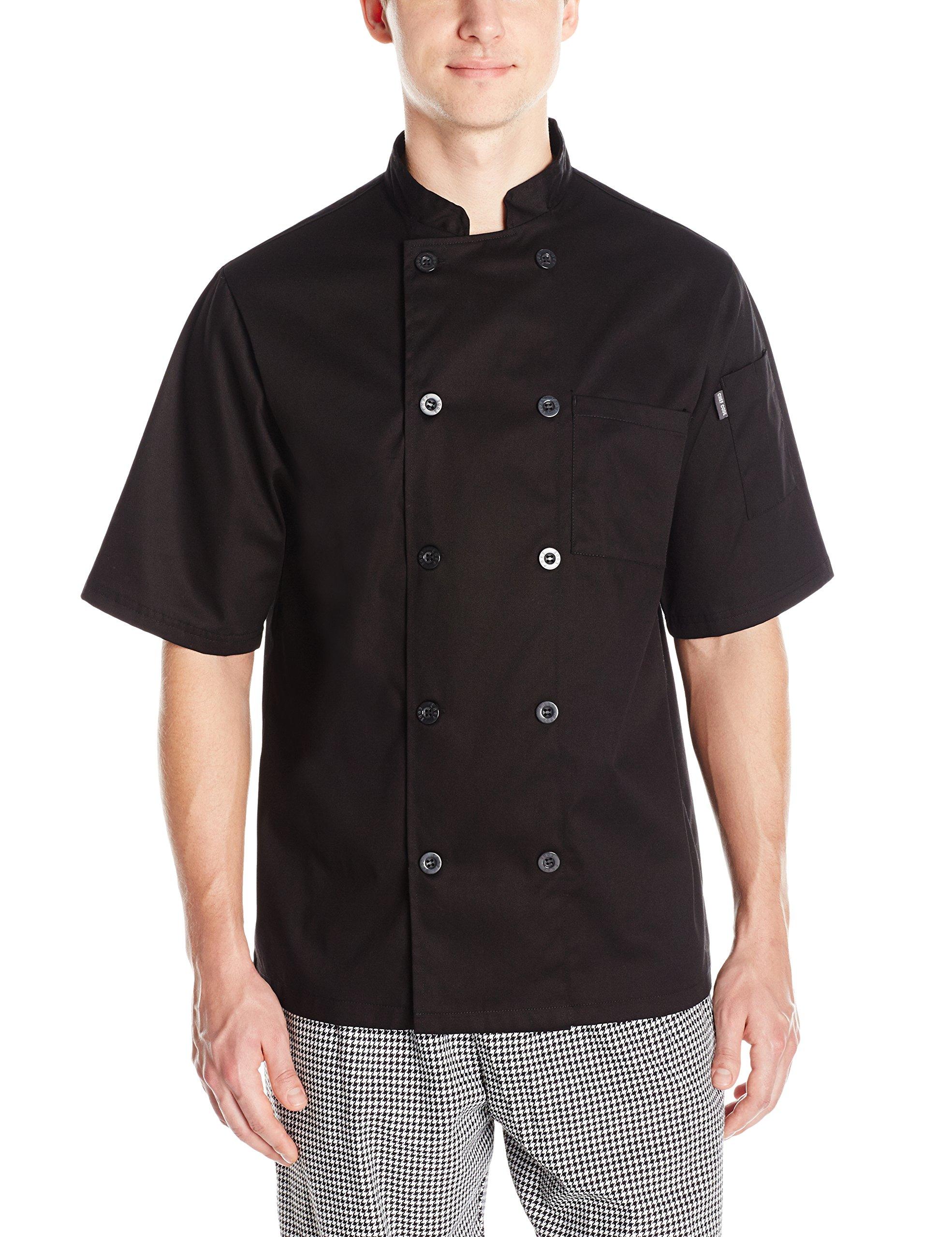 Chef Code Men's Short Sleeve Unisex Classic Chef Coat, Black, Medium by Chef Code