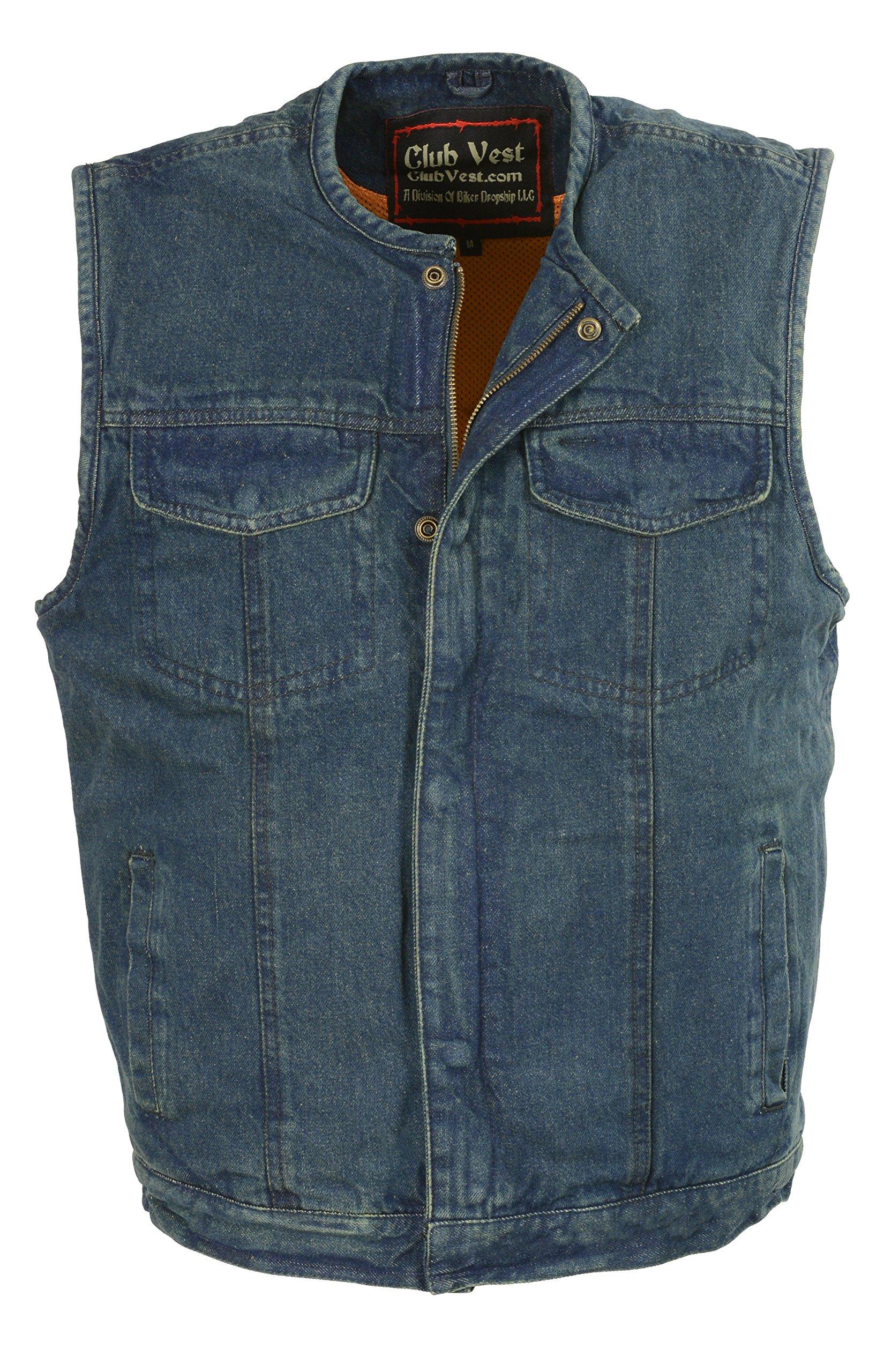 Club Vest-Men's Collarless Denim Club Vest w/Hidden Zipper (Blue, Large), 1 Pack by Club Vest