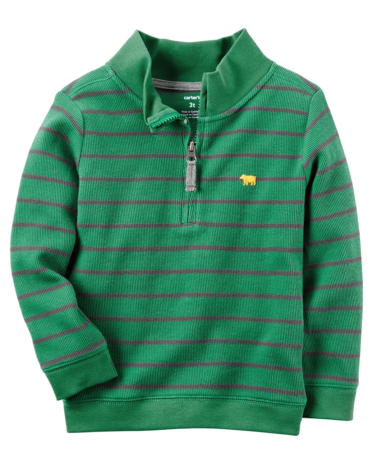 Carters Boys Half-Zip Striped Sweater Green//Grey,