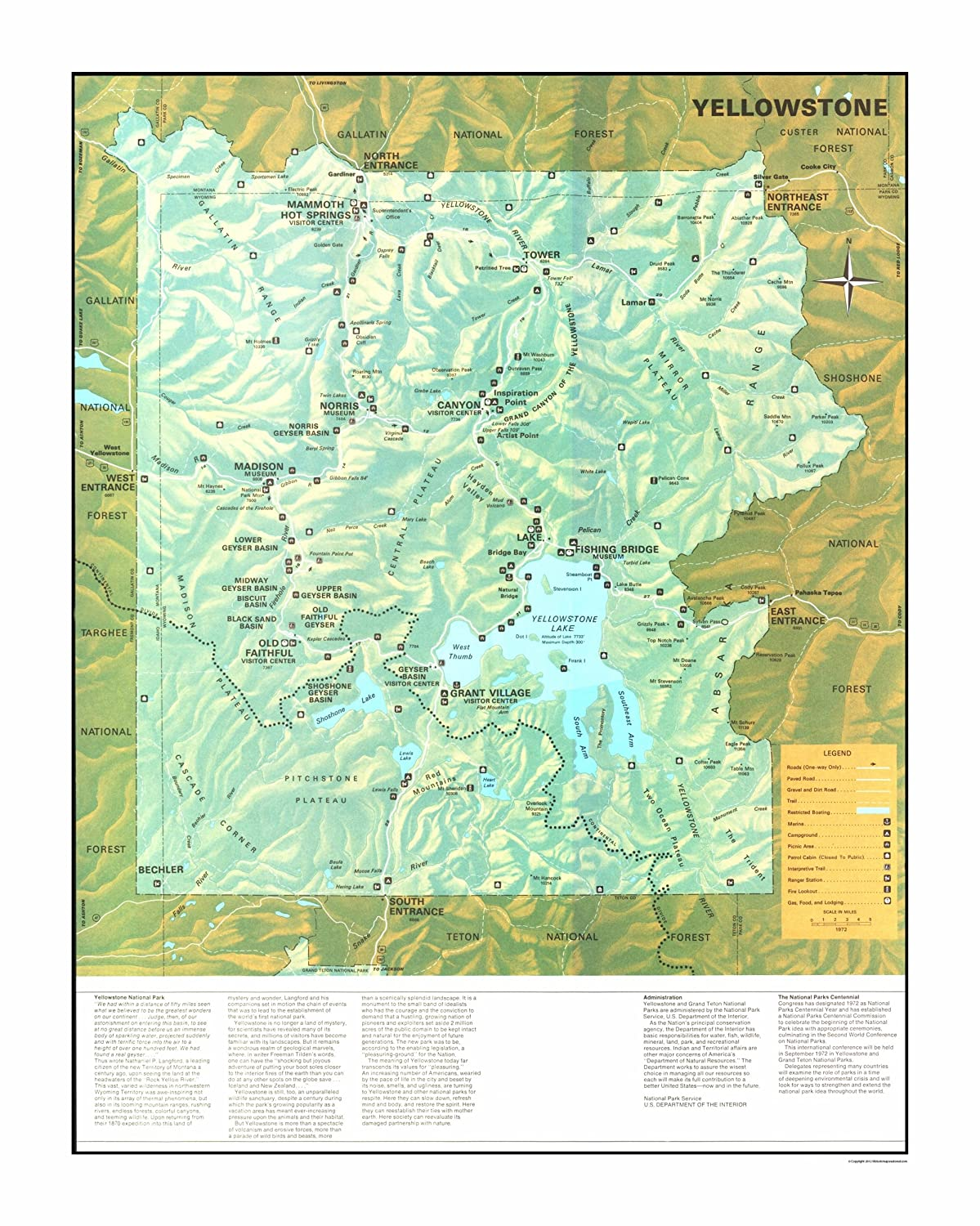 Amazon Com Old State Map Yellowstone National Park Us