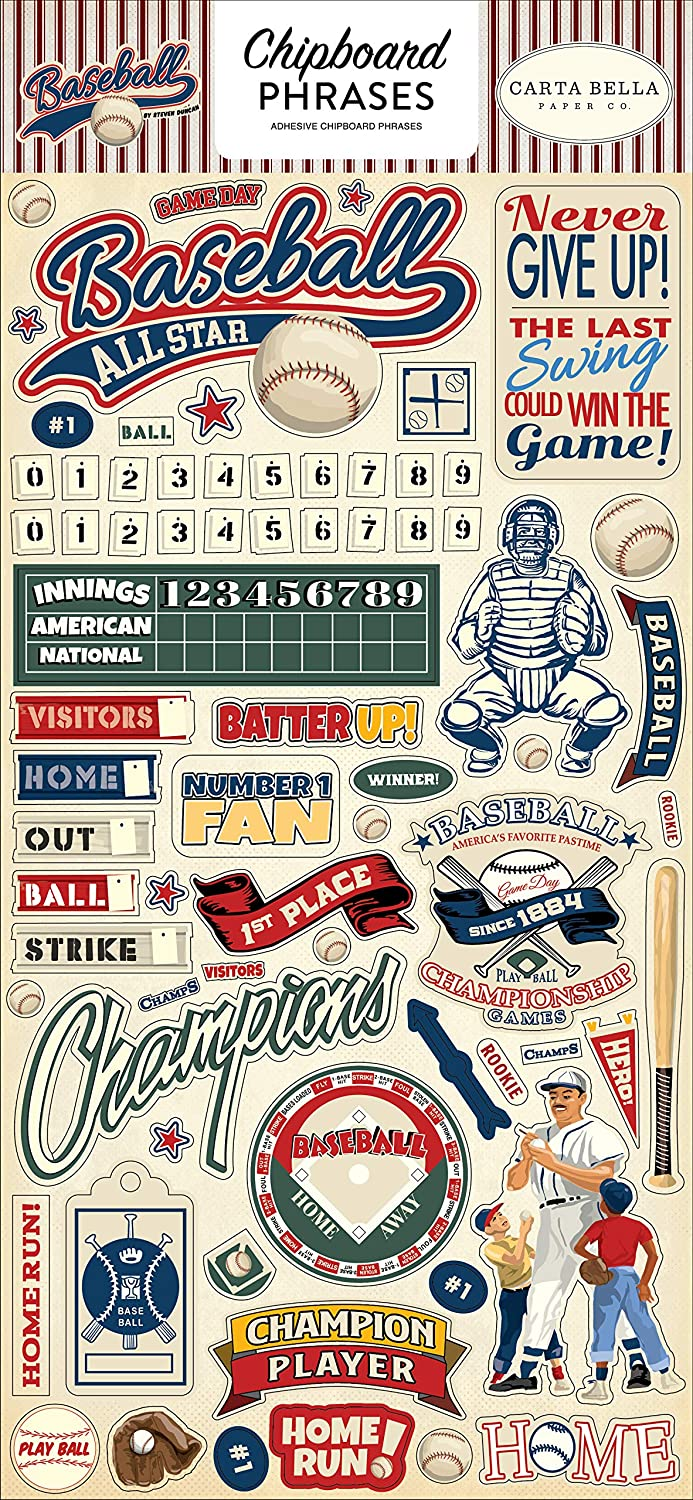 Blue Brown Navy Carta Bella Paper Company CBBA95022 Baseball 6x13 Phrases chipboard red Green Yellow