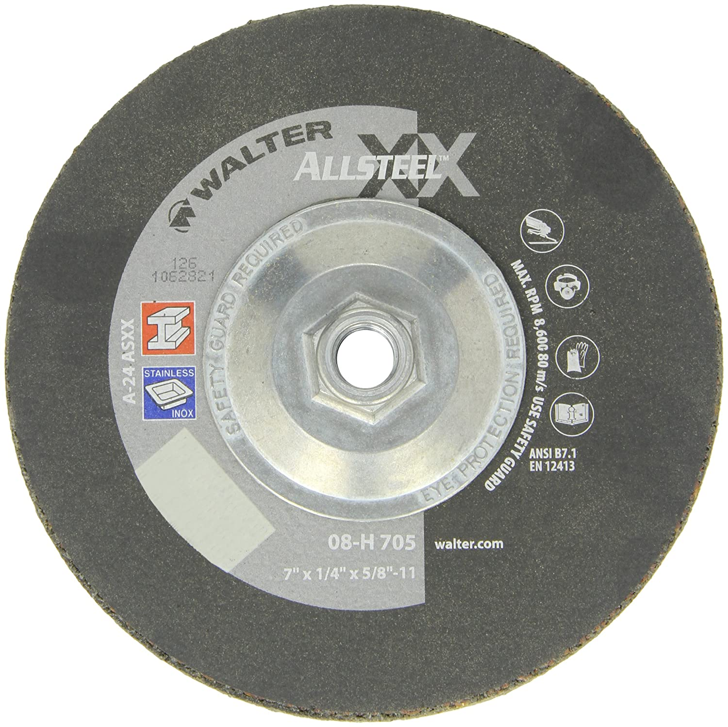 Surface Finishing Wheels Walter Surface Technologies A-24-AXX Grit Walter 08H705 ALLSTEEL XX Exceptional Grinding Wheel - Pack of 10 Aluminum Oxide Abrasive Wheel 7 in