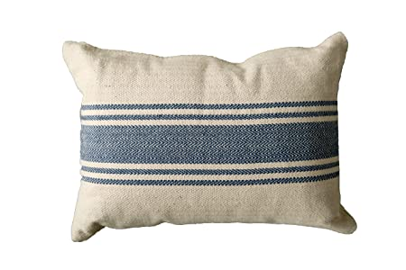 Creative Co-Op DA6448 Cream Cotton Canvas Pillow with Blue Stripes