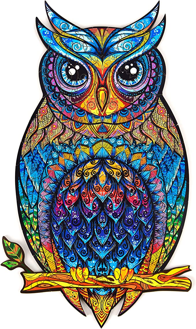 Amazon.com: Unidragon Wooden Jigsaw Puzzles - Unique Shape Jigsaw Pieces Best Gift for Adults and Kids Charming Owl 5.9 × 10.2 in (15 × 26 cm) – S: Toys & Games