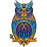 Unidragon Wooden Jigsaw Puzzles - Unique Shape Jigsaw Pieces Best Gift for Adults and Kids Charming Owl 5.9 × 10.2 in…