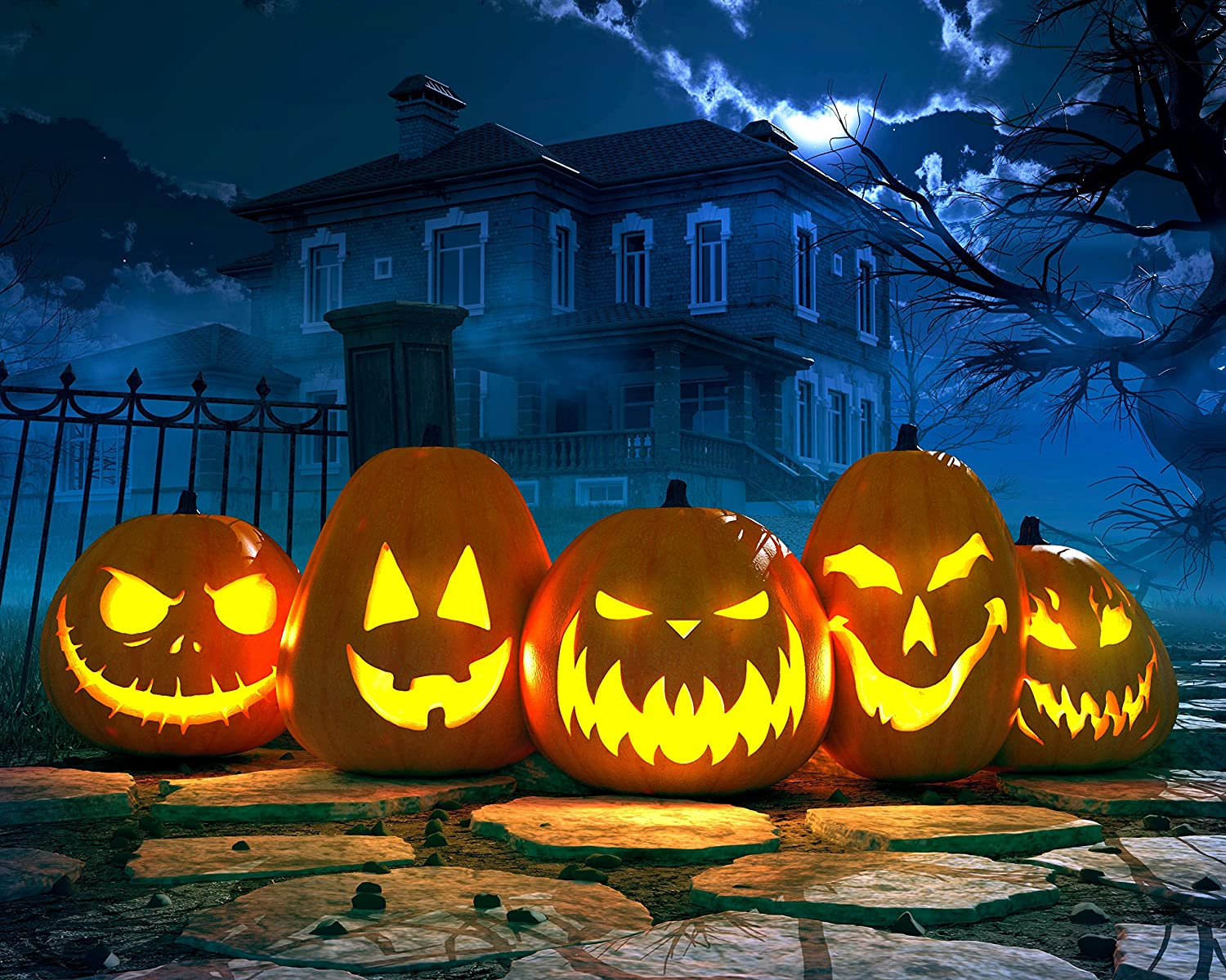 Amazon Com Spooky Halloween Pumpkins And Haunted Mansion 504