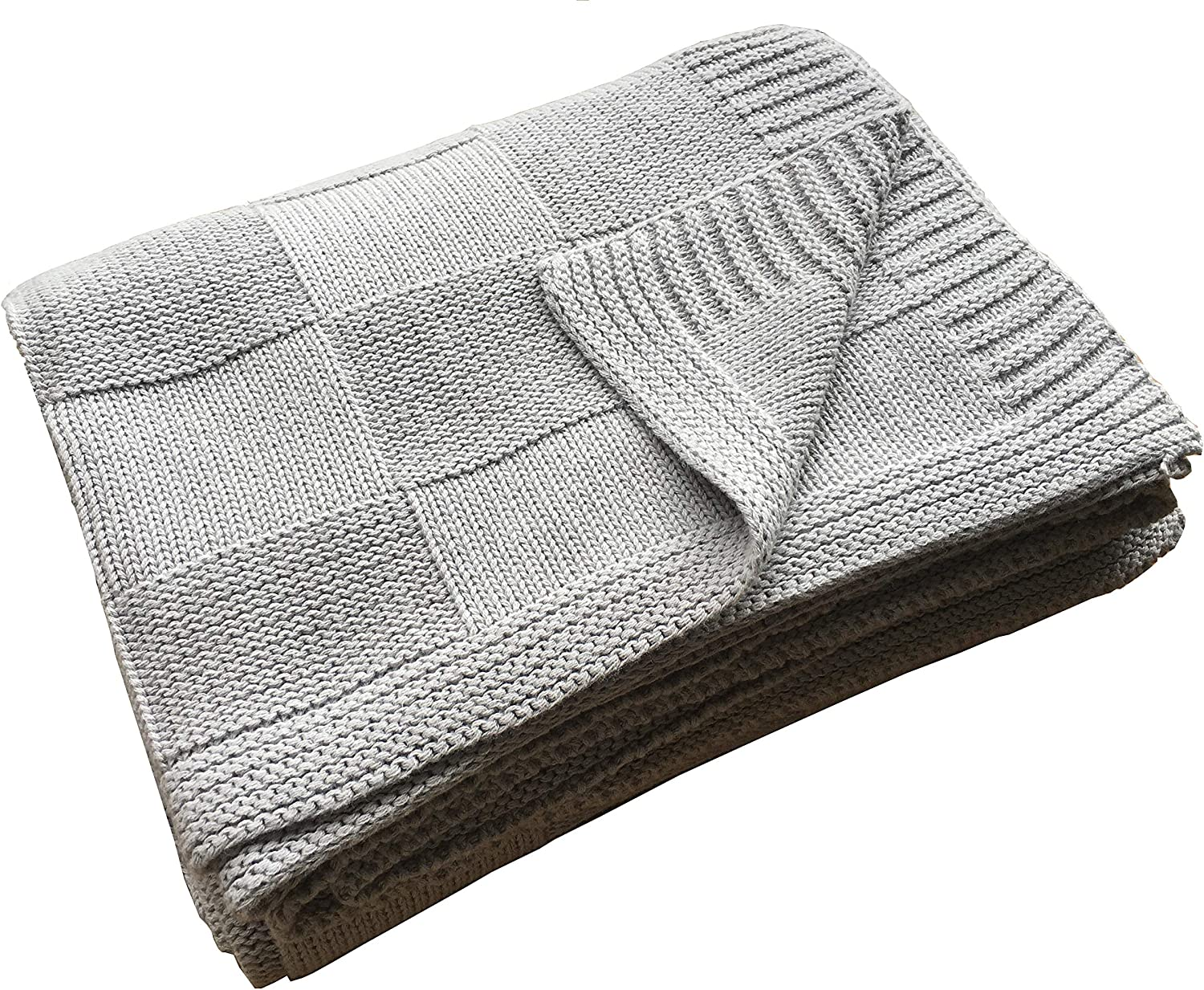 "Pre-Washed 100% Cotton Knit Throw Blanket for Couch, Chair, Adult, Kid, Plant Dyed Yarn, Super Soft, Cozy, Warm Bed Blankets, Everyday Use, All Season, Oeko-Tex Certified (Light Grey, 50""X60""): Kitchen & Dining"
