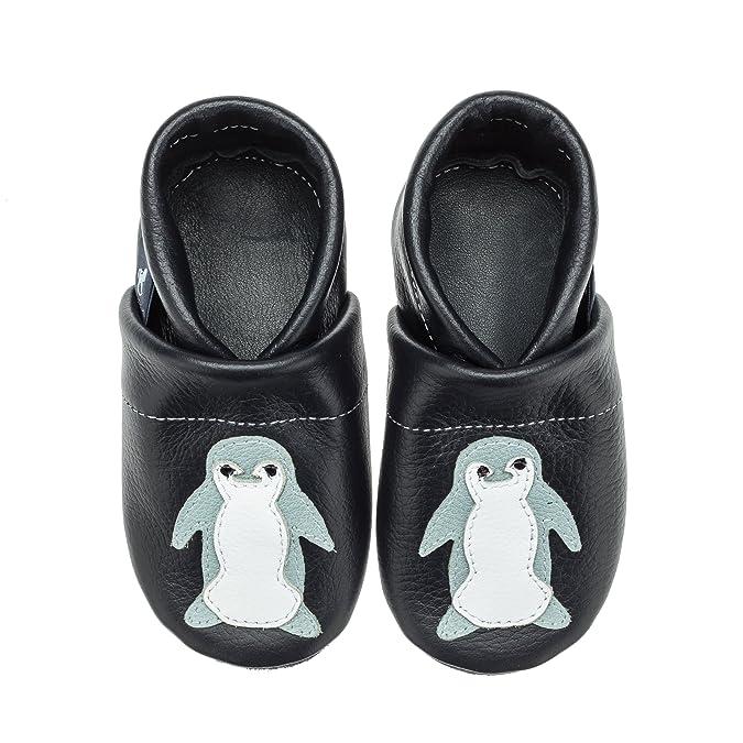 Pantau Leder Krabbelschuhe Lederpuschen Babyschuhe Lauflernschuhe mit Pinguin, 100% Leder, 30 EU