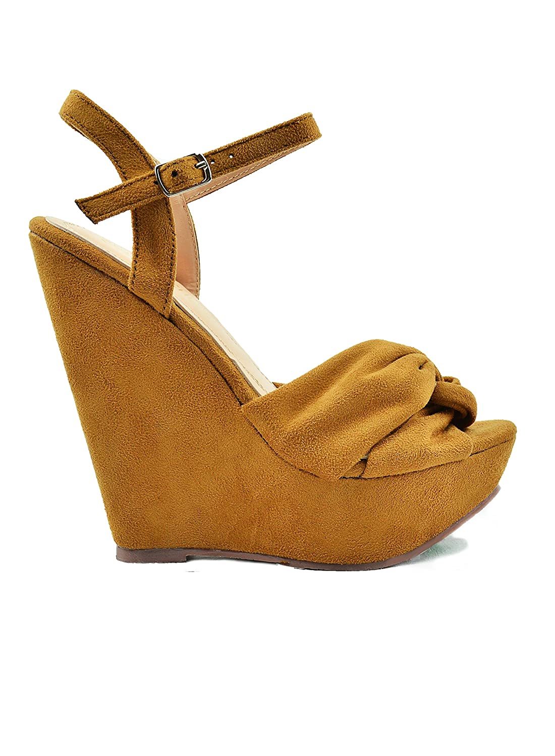 Chase Back & Chloe Gita-1 Sling Back Chase Criss-Cross Bow Detail Women's Wedge Sandal B07D96LNSF 8 M US|Camel 46ae90