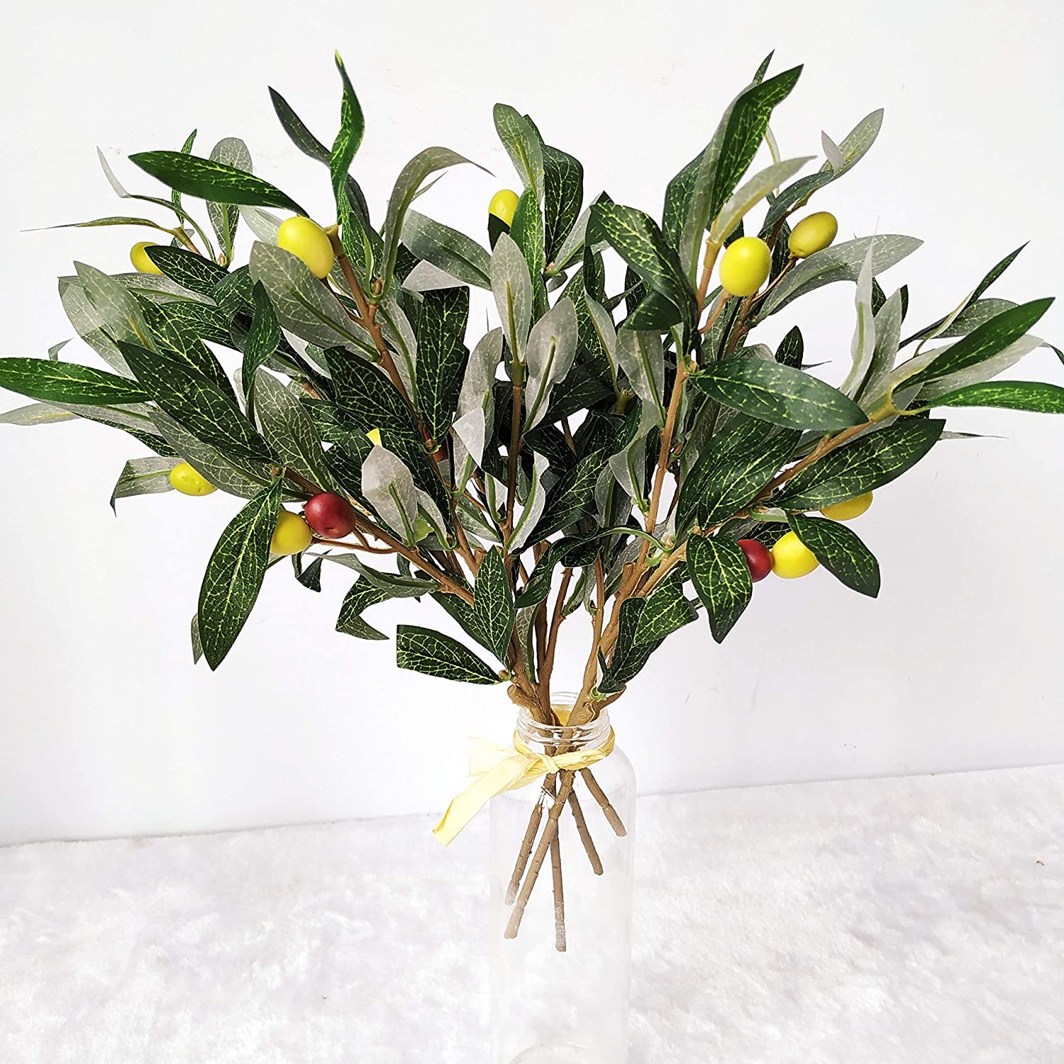 and Stems with Fruit for Decoration Faux Tree Plant Fake Olives Leaf Spray Home Kitchen Party Plastic Decor AF43 ShoppeWatch 5pcs Artificial Olive Leaves Branches