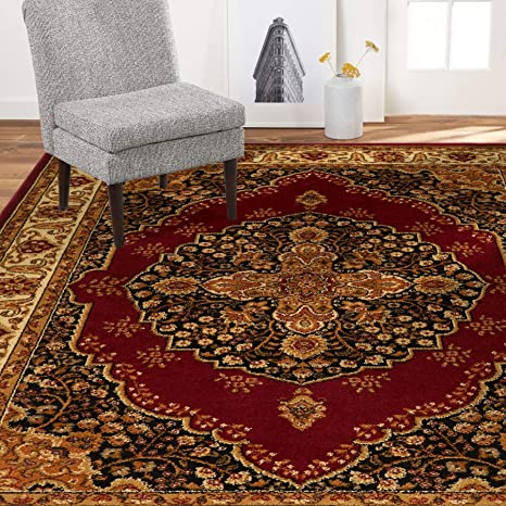 Amazon Com Home Dynamix Royalty Tansy Traditional Area Rug 5 2 X7 2 Oriental Red Ivory Furniture Decor
