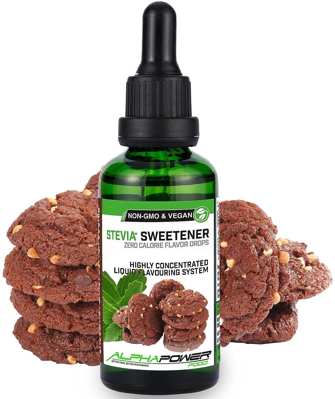 ALPHA POWER FOOD: Stevia líquida natural - Stevia Gotas de galleta de mantequilla de maní con chocolate, Edulcorante natural, sustituto del azúcar con sabor ...