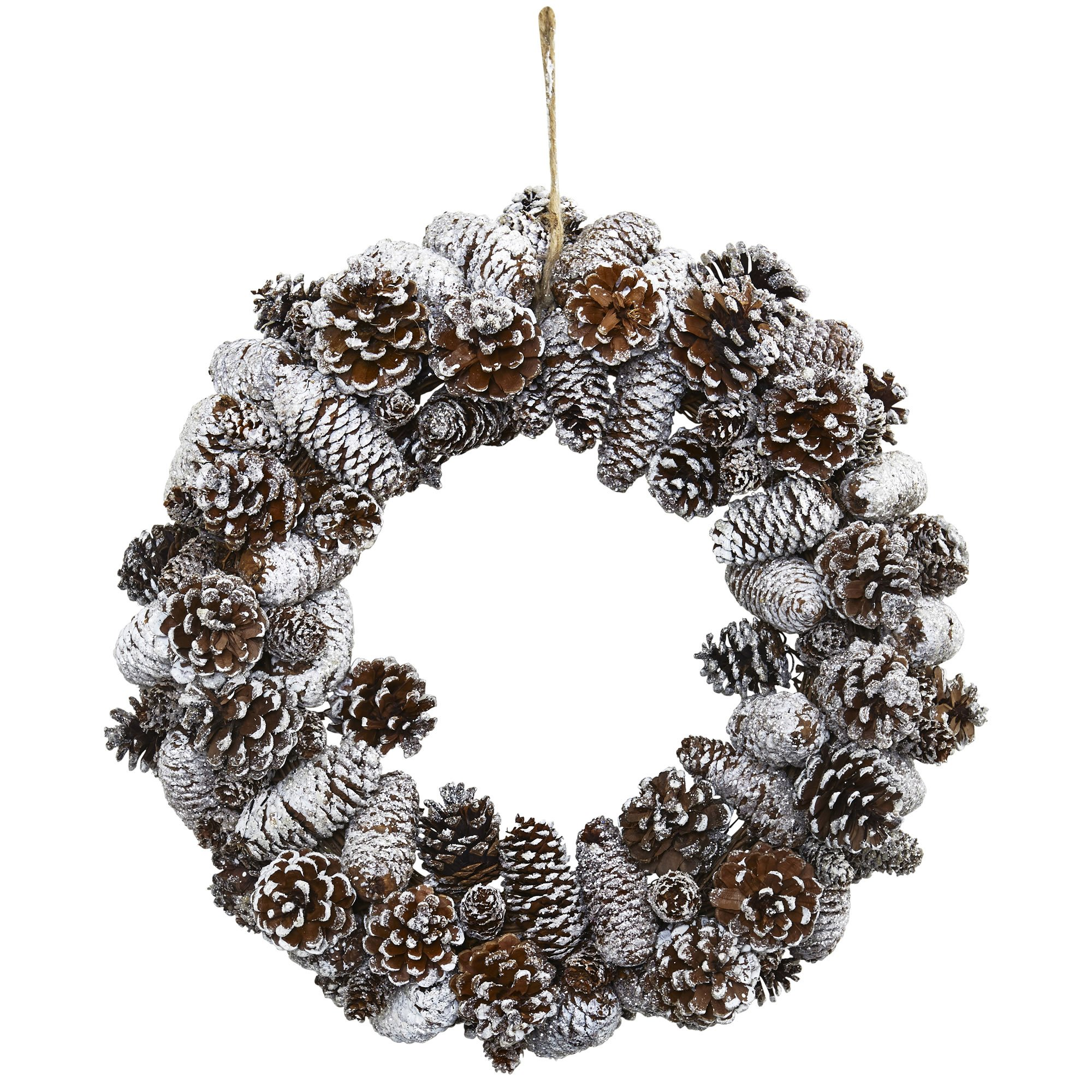 Nearly Natural 4553 Snowy Pine Cone Wreath