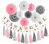 Pink White Grey Baby Girl Baby Shower Decorations