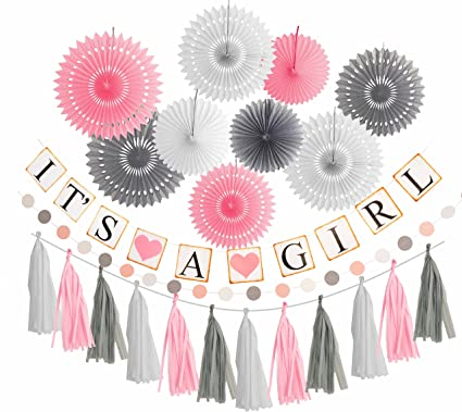 Amazon Pink White Grey Baby Girl Baby Shower Decorations Grey