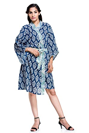aa4a5b10e8 Image Unavailable. Image not available for. Color  Womens Ladies Floral  Dressing Gown Robe Indian Cotton ...