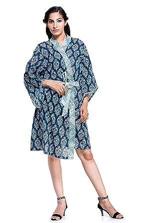Womens Ladies Floral Dressing Gown Robe Indian Cotton Nighwear ...