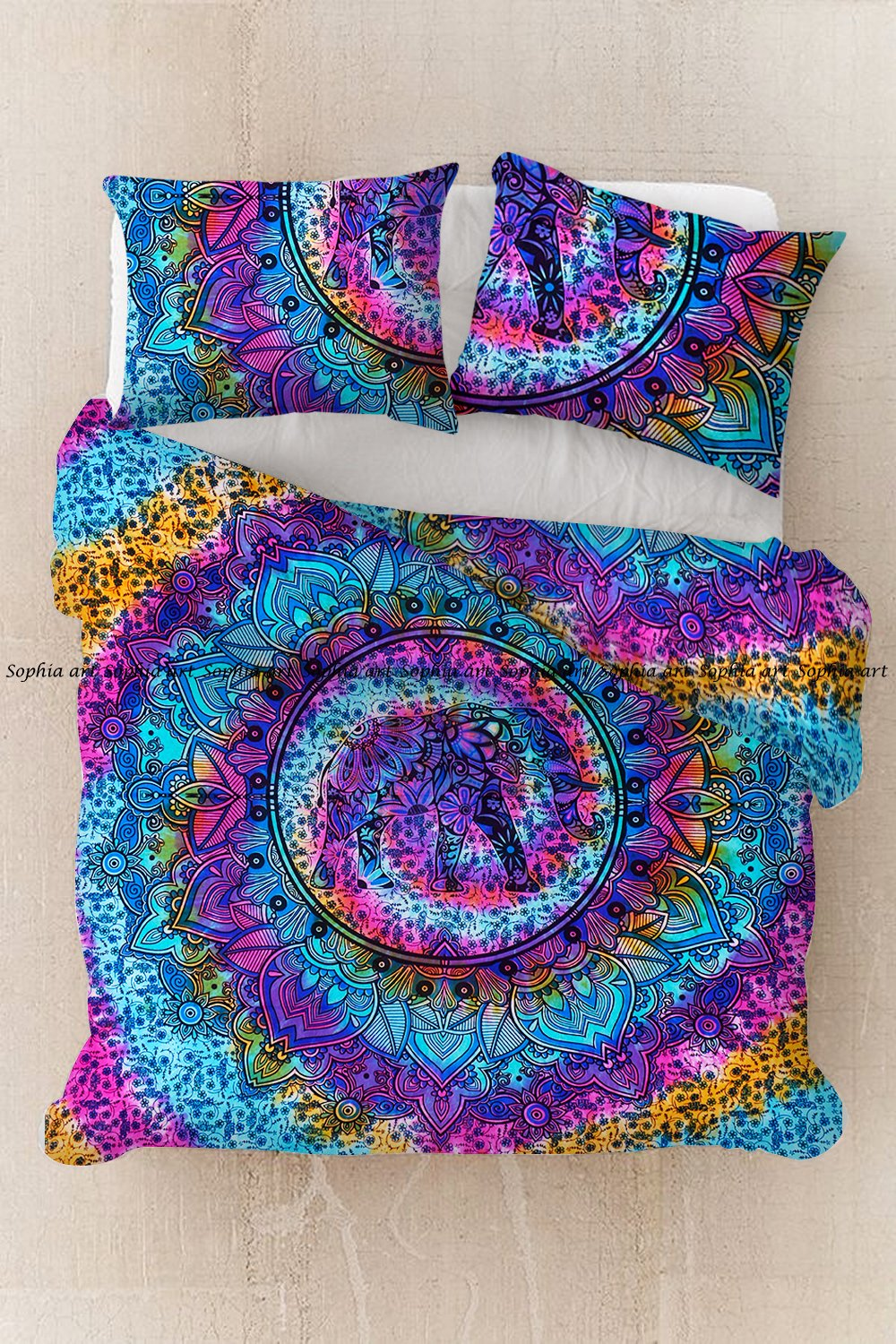 Sophia Art Exclusive Multi Tye Dye Elephant Mandala Queen Size Handmade Quit Cover bohemian Cotton Mandala DUVET COVER WITH PILLOWCASES By mandala Doona cover, Donna Cover Indian Duvet Set (Multi)