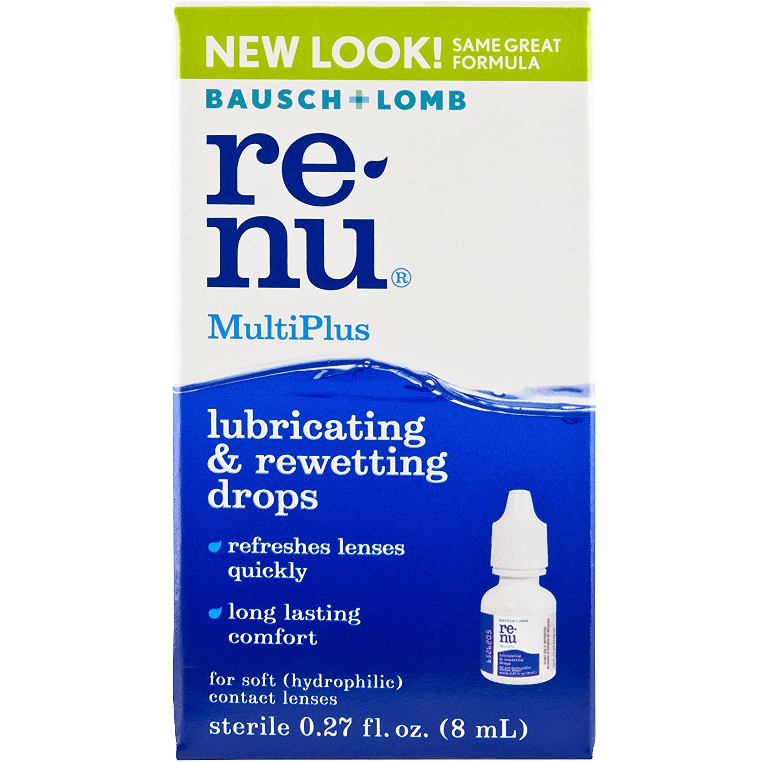 Bausch + Lomb ReNu MultiPlus Lubricating and Rewetting Soft Eye Contact Lens Drops 0.27 Fluid Ounces
