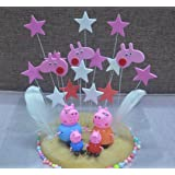 4pcs Peppa pig and a set of stars Cake Toppers Set Cupcake Toppers for Party Birthday Cake Decorations